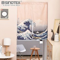 Japanese Door Curtain Linen Cotton Wave Cat Printed Curtains for Living Room Creative Kitchen Door Curtains Home Decoration