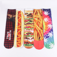 5 Pairs 3D Double Sides Printed Long Socks Stockings