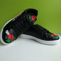 Women Zapatos Trainers Flat Embroider PU Sneakers Autumn Shoes