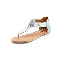 Lace Overlay T-Strap Sandal: Charlotte Russe