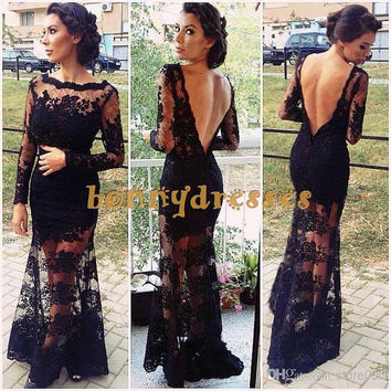 2014 Hot Selling Back Open Back Lace Mermaid Prom Party Dresses,Sexy Evening Gowns With Transparent Neckline And Long Sleeves,Elegant Gown