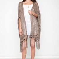 Crochet Knit Cardigan, Mocha