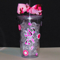 Pink camo Browning Deer AcrylicTumbler Cup Lid by SquigglyDoodles