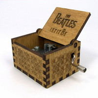 Engraved  wooden music box (Let It Be - Beatles)