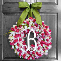 Spring Tulip Wreath, Mothers Day Gift, Personalized Gift, Wedding Gift, Monogram Gift, Mother's Day Gift from Kids, Gift for Grandma