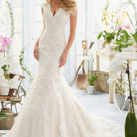 Mori Lee 2893 Tank Beaded Bodice Satin Fit & Flare Wedding Dress – Off White by Bridal Expressions