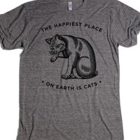 Cats, the happiest place on earth-Unisex Athletic Grey T-Shirt