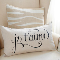 Dear Lillie — Je T'aime 12x20 Pillow Cover in Black