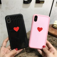 Love Heart Cartoon couple Case For iPhone X case Luxury Mirror Soft  Fashion pink love Phone Cover For iphone X 8