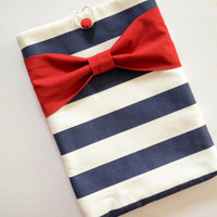 """Macbook Pro 13 Sleeve MAC Macbook 13"""" inch Laptop Computer Case Cover Navy & White Stripe with Red Bow"""