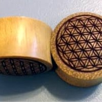 """Custom Handmade Organic """"Flower of Life"""" Wood Plugs -- You choose wood type/color and size 2g - 30mm"""