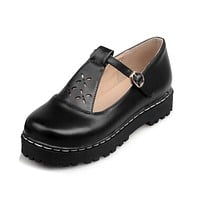 Buckle Women Platform Shoes Flats 3779