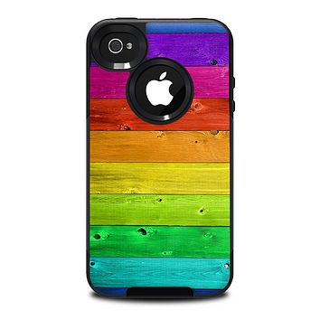 The Rainbow Highlighted Wooden Planks Skin for the iPhone 4-4s OtterBox Commuter Case