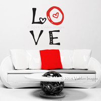 Love heart wall decal, wall words sticker, wall graphic , typography, love vinyl decal in black and red