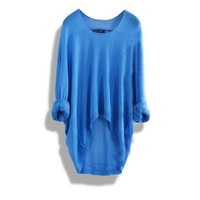 Batwing Sleeve Loose Asymmetric Fashion Casual Sweater Blue White Black 6 colors available = 1920121284