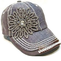 Brown Cadet Hat with Rhinestone Flower