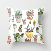 Potted Succulents Throw Pillow by Brooke Weeber