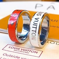 LV Louis Vuitton Hot Sale Couple Lettering Birthday Gift Engagement Ring