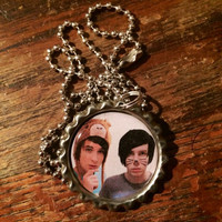 Danisnotonfire and Amazingphil YouTubers duo picture bottlecap necklace
