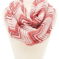 Chevron Pattern Infinity Scarf by Charlotte Russe - Peach Combo