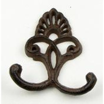 Cast Iron Crown Wall Double Hook