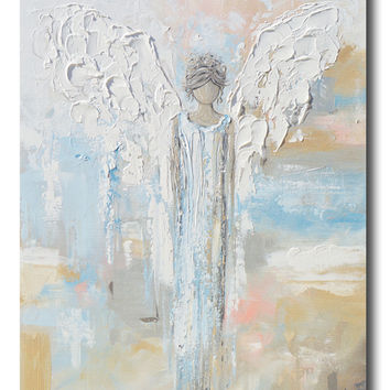 GICLEE PRINT Abstract Angel Painting Guardian Angel Spiritual Blue Blush Gold Contemporary Wall Art