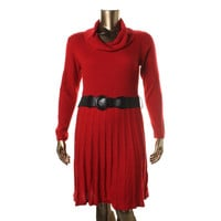 AGB Womens Plus Ribbed Knit Funnel Neck Sweaterdress