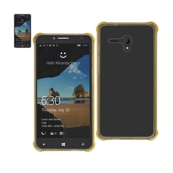 Reiko REIKO ALCATEL ONE TOUCH FIERCE XL MIRROR EFFECT CASE WITH AIR CUSHION PROTECTION IN CLEAR GOLD