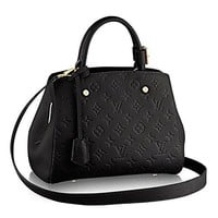 Authentic Louis Vuitton Montaigne BB Monogram Empreinte Handbag Article: M41053