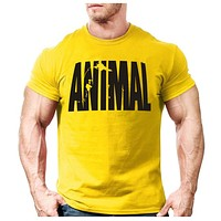 Animal print tracksuit t shirt muscle shirt Trends in 2016 fitness cotton brand clothes for men bodybuilding Tee large XXL