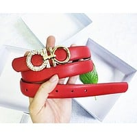 Ferragamo Women Fashion New Metal More Diamond Buckle Personality Leather Belt Women Red-1