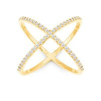 X Ring, Yellow Gold with Clear CZ