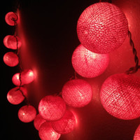 Pink colors cotton ball holiday/Party String Lights 20 Lanterns