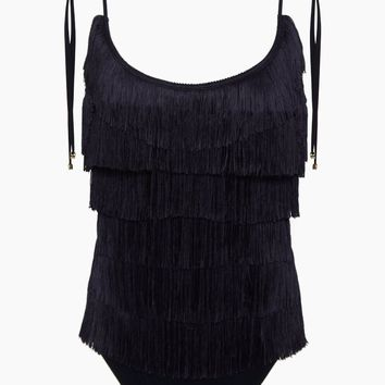 Fringe Tie-Shoulder One Piece Swimsuit - Black
