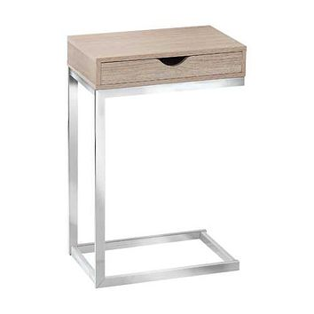"Natural, Particle Board, Metal, Drawer - Accent Table 10'.25"" x 15'.75"" x 24'.5"""