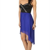 High Low Dress with Criss Cross Beaded Bodice