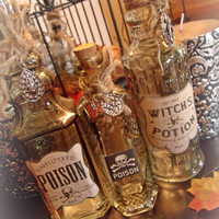 Set of 3 Handcrafted Halloween Poison / Potion Bottles. Halloween Decor. Poison Bottles. Potion Bottles. Halloween Decor.