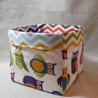 Fun, Bright Owl and Chevron Themed Fabric Basket