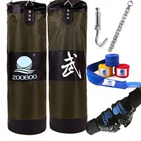 90cm Training MMA Boxing Bag Hook Hanging Kick Muay Thai Sand Punching Bag Sandbag (Empty)