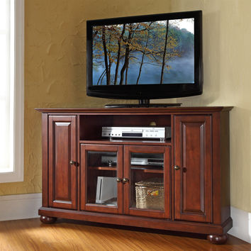 Vintage Mahogany 48-inch Corner TV Stand with Tempered Glass Cabinet Doors