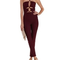 Wine Strappy Cut-Out Halter Jumpsuit by Charlotte Russe