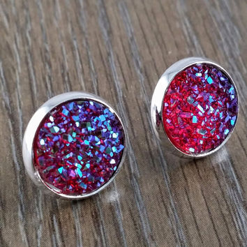 Druzy earrings- ruby red drusy silver tone stud druzy earrings