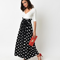 Retro Style Black & White Dot High Waisted Button Maxi Skirt