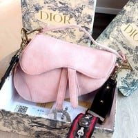 Dior new women's shoulder bag saddle bag pink