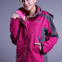 The North Face The latest womens three-in-one rose red