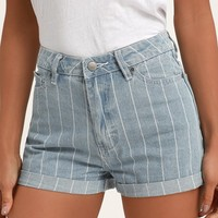 Hi Roller Light Wash Striped Denim High Waisted Shorts