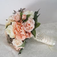 Peach Ivory Bridal Wedding Bouquet with Boutonniere  French Knotted with Ivory Satin Ribbon Bride Bridesmaid Elopement Bouquet Ready to Ship