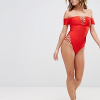 Missguided Bardot Bandage Lace Up Detail Swimsuit at asos.com