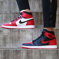 Nike Air Jordan Retro 1 Fashion Couple High Top Contrast Sports Shoes Sneakers White&Black&Red