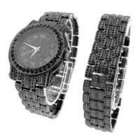 Men's Black Simulated Diamond Watch  Matching Bracelet Gift Set Analog Jojino